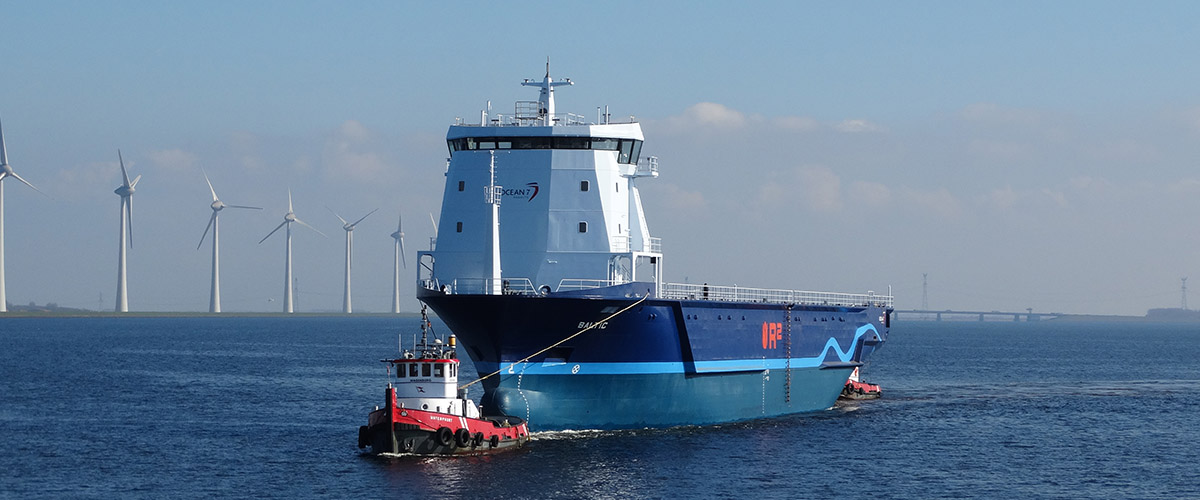 Newbuild R2 Carrier in the port of Urk for finishing of the build.